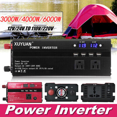3000/4000/6000W Car Solar Power Inverter Converter DC12/24V To AC110V/220V New