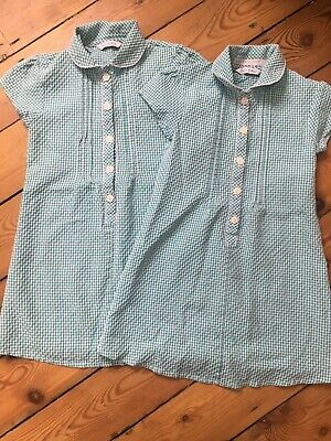 5ea82e8d07 M&S Girl Age 5 School Summer Dress Green & White Gingham With Flower  Buttons ...