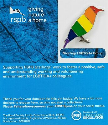 RSPB Pin Badge | LGBTQIA+ starling blue backing card (01453)