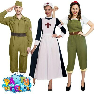 Army Costume 1930s 1940s Ladies Uniform Fancy Dress Outfit Military World War