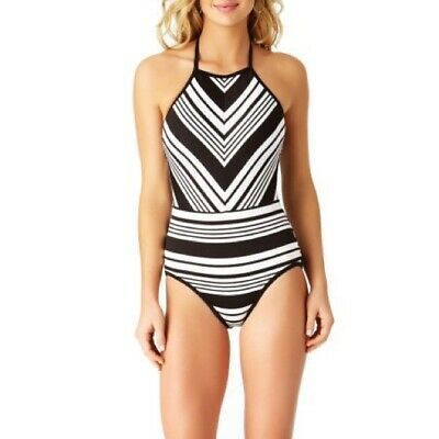 9a9e56d6054 Time and Tru Women's Black and White Stripe One-Piece Swimsuit | Sz 4-