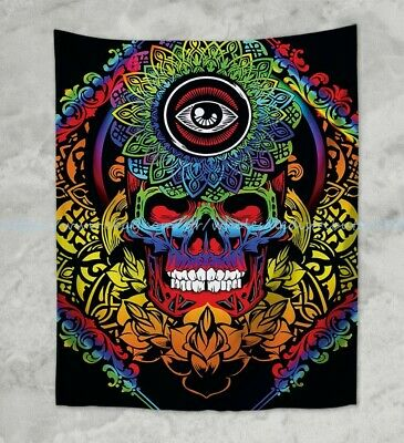 3-D MINDFUL SKULL PSYCHEDELIC 5x7.5ft  TAPESTRY WALL HANGING w//FREE GLASSES