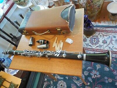 Early 20th C. M. LaCroix Wood Clarinet w/ Case and Extras; Paris