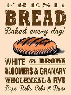 Retro Vintage Style Metal Sign Fresh Bread Bake Bakery Home Kitchen Wall Decor