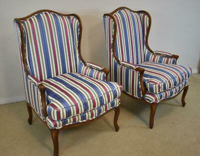 Pair Wing Back Chairs Meyer, Gunther & Martini Down Cushions Blue & Pink Stripe