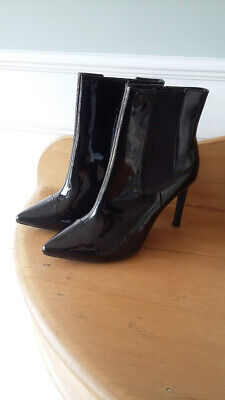 BRAND NEW Ladies Black Patent High Heeled Boots Size 6 *Charity Auction*