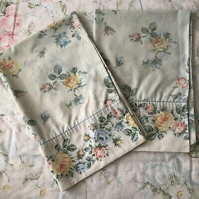 Pair Vintage Floral Pillowcases, Marlboro Percale Roses Pillow Case 1980s