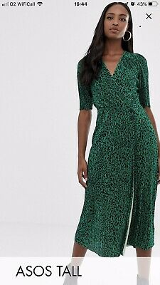b9fddede573a NWT ASOS CREPE Dress With Puff Sleeves In Pink Animal Print Women's ...
