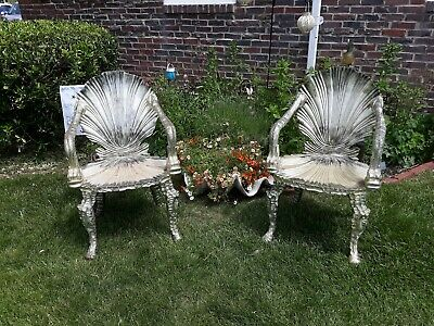 Pair Old or Antique Venetian Silver Leaf Grotto  Chairs  Italian Carved Wood