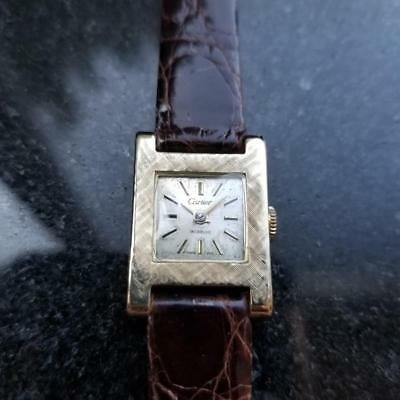 CARTIER 14K Solid Gold Ladies Cocktail Art Deco Dress Watch, c.1950s Swiss EB137