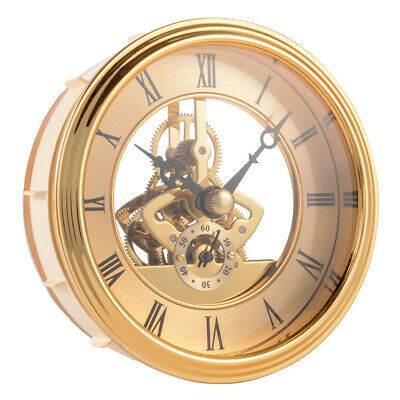 Mini Clock Insert Quartz Movement 97mm Round Roman Numerals Golden Trim BI1259