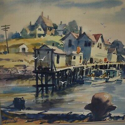 Original Walter Chapman Watercolor Harbor Docks Water Scene Signed Ohio Artist