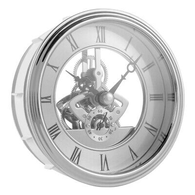 Mini Clock Insert Quartz Movement 97mm Round Roman Numerals Silver Trim BI1260