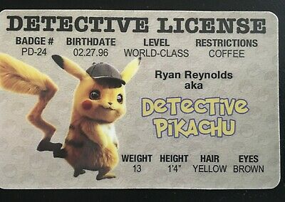 Detective Pikachu License ID Drivers Pokemon Movie Ryan Reynolds Collectors Card