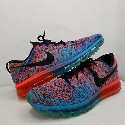 ee4e406cff Nike Flyknit Air Max Men's 12 Blue Lagoon Crimson Woven 620469-401 Shoes