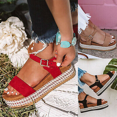 Womens Ladies Flatform Cork Espadrille Sandals Wedge Lace Up Ankle Shoes Sized