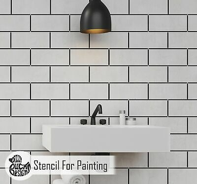 METRO TILE Stencil for Painting / Subway DIY Wall Tile Stencil