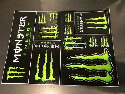 Monster Energy M-Claw Stickers Sheet - Set of 12 Stickers - Super Glossy Decals