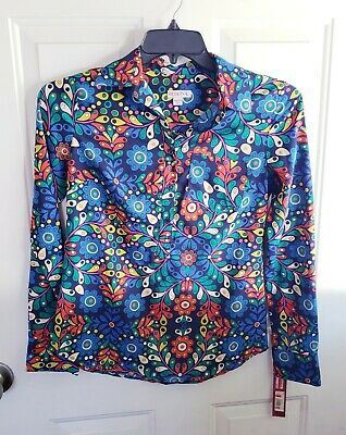 e85144ae6ac384 70s Style Flower Power/Psychedelic Hippie Sz XS Womens Costume Shirt Blouse