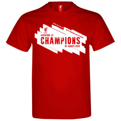 Official Liverpool Fc Uefa Champions Of Europe 2019 Round Crew Neck T-Shirt