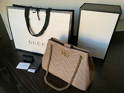 bb8e3dd7f NWT Gucci Rose Taupe Quilted Marmont Lg Matelasse Chain Tote Shoulder Bag