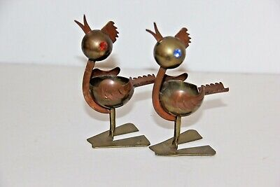 Vintage Taxco Brass Ashtrays Two Birds