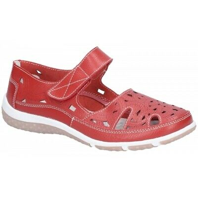 Cotswold JASMINE Ladies Adjustable Strap Comfort Leather Mary Jane Shoes Red