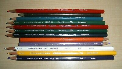 Prismacolor Verithin Premier Colored Pencils Set of 12 VGUC