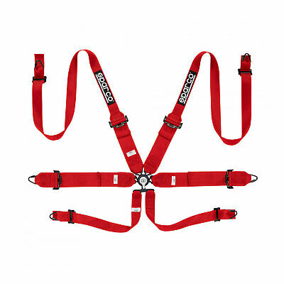 Genuine Sparco Safety Belts 6 - points 04818RH Red (with homologation FIA)