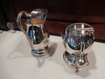 Vintage English Hand Engraved Silver Plate Sugar Shuttle With scoop & Creamer