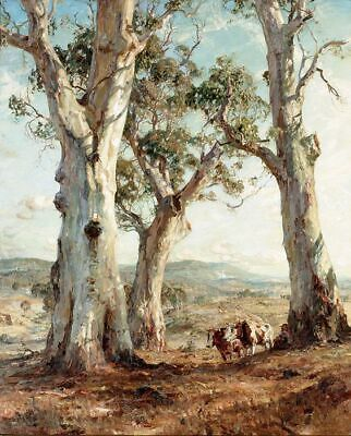 "Canvas Prints Hans Heysen - Painting - ""The Three Gum""  Framed & Ready to Hang"