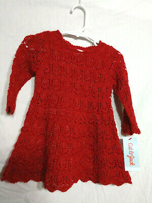 9b563607e3ee Cat & Jack Baby Infant Girl Sweater Dress Red Knit w/ Sparkle Long Sleeve 18