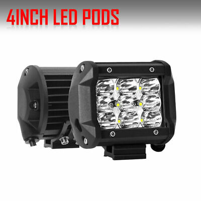 "Flush Mount Work Light Pods 2x 4"" LED Pods 320W Bumper Reverse Lamps Amber/White"