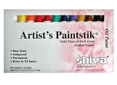 Shiva Artists Paint Stick Set 12 Colours Oil Paint -Made in USA Sticks Paintstik