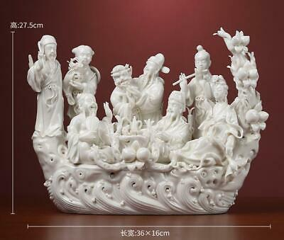 "14"" Chinese Dehua White Porcelain Hand Carving 8 Eight Immortal God Peach Statue"