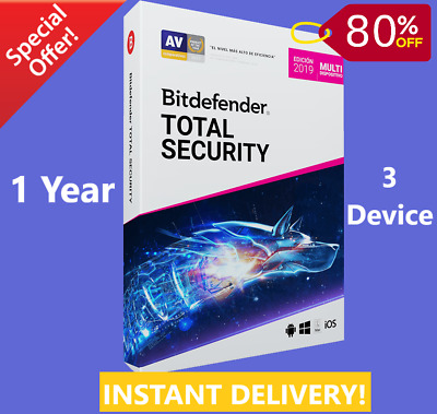 Bitdefender Total Security 2019 | 3 Device 1 Years | Download | INSTANT DELIVERY