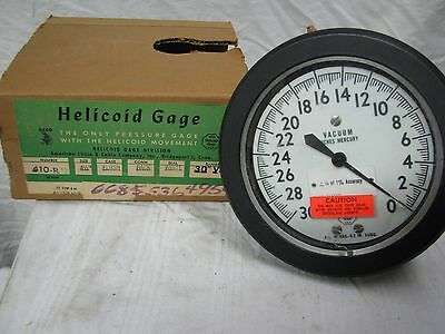 "NEW Vintage Acco HELICOID TEST GAGE model 410-RTD, up to 30 inches of vac, 6""Dia"