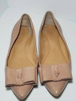 5c55f7876 J. Crew Emery Ballet Flats Womens 6 Nude Patent Bow Pointed Toe Slip On  Shoes