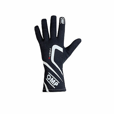 OMP FIRST-S MY18 Black Racing Gloves (FIA) - Genuine - XS