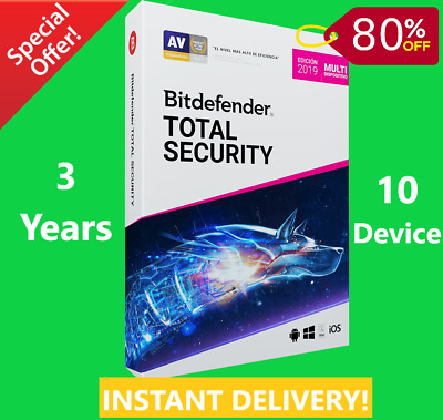 Bitdefender Total Security 2019/2020  10 Device 3 Year-Download-INSTANT DELIVERY