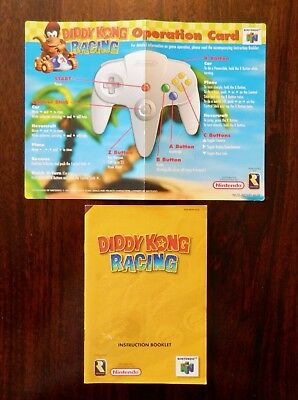 Nintendo 64 Diddy Kong Racing Aust instruction booklet and operations card