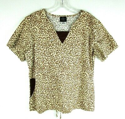 039da327e14 WOMEN'S BABY PHAT Scrub Top Leopard Print with Scroll Cotton Blend ...