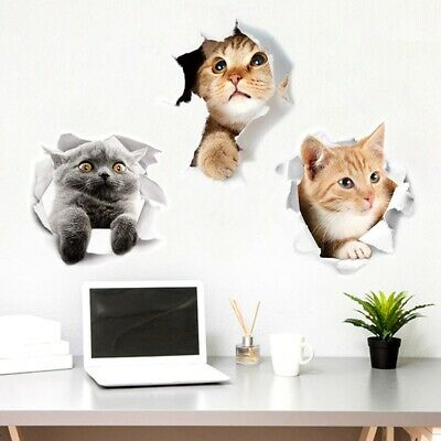 3D Cute Animal Cat Dog Removable Bathroom Toilet Seat Wall Sticker Home Decor