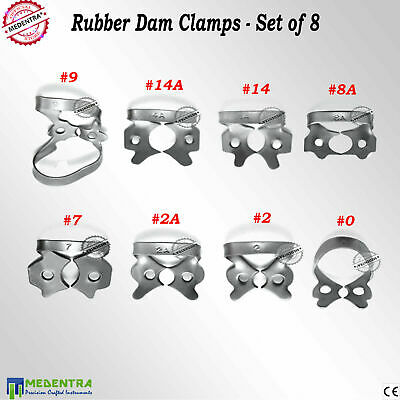 8PCS Rubber Dam Universal Clamps for Incisors and Canines Tissue Retractors New