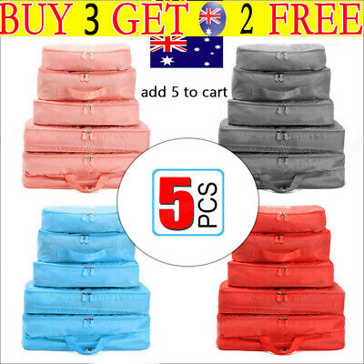 5Pcs Packing Cubes Travel Pouches Luggage Organiser Clothes Suitcase Storage-Bag