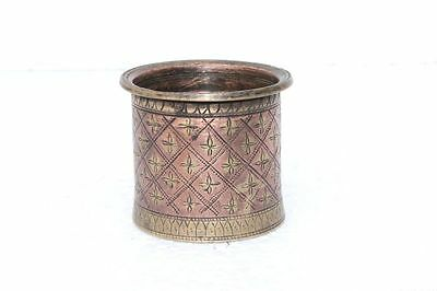 Holy Water Pot 1900's Old Antique Brass Inlay Engraved Handcrafted PA-99