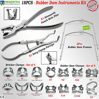 18PCS Rubber Dam Brinker Clamps Ivory Forceps Ainsworth Punch Frame Dentist Set
