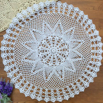Round Handmade Crochet Tablecloth Cotton Doily Table Mat Home Doilies Cover 60cm