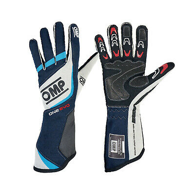 OMP ONE EVO blue/grey Racing Gloves (FIA) - Genuine - L