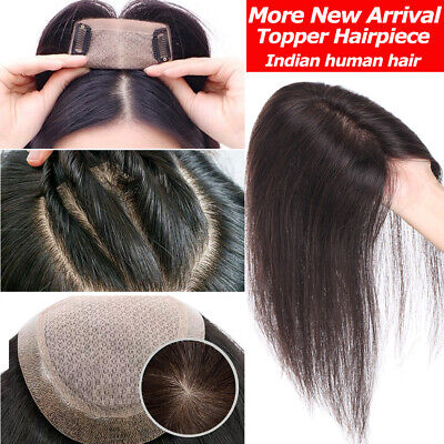 Women Topper Clip In 100% Human Hair Wig Hairpiece Silk Hand Tied Free Part AU